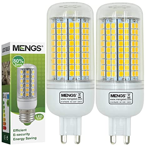 MENGS® Pack de 2 Bombilla lámpara LED 15 Watt G9, 180x2835 SMD Con placa