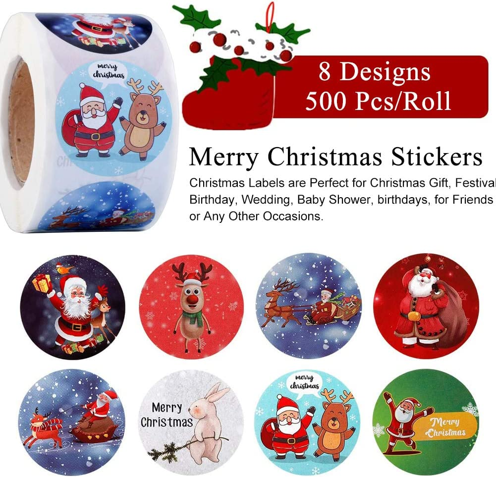 Round Xmas Stickers for Scrapbooking//Gift Wrap//Card Making Christmas Sticker Labels with Reindeer//Santa Stickers Self Adhesive Gift Tag Envelope Seal Present Stickers 500Pcs Merry Christmas Stickers
