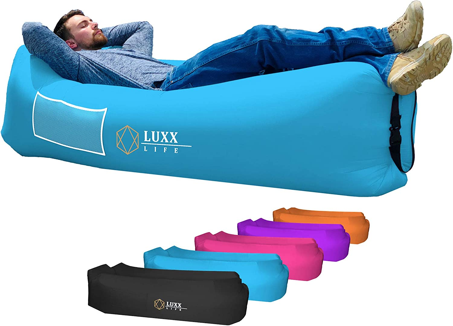 LUXX LIFE - Inflatable Lounger Air Sofa Portable Hammock - Camping, Hiking, Traveling, Park, Beach, Pool, Lakeside, Picnic, Festivals - Durable & Waterproof - Indoor/Outdoor Use, Pack of 1
