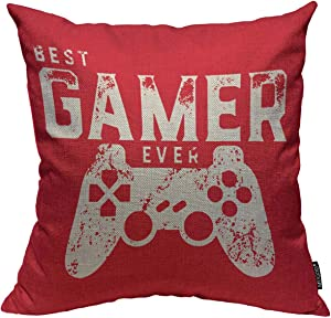 Mugod Throw Pillow Cover Best Gamer Ever for Video Games Geek Home Decorative Square Pillow Case for Men Women Boy Gilrs Bedroom Livingroom Cushion Cover 18x18 Inch Red White Pillowcase