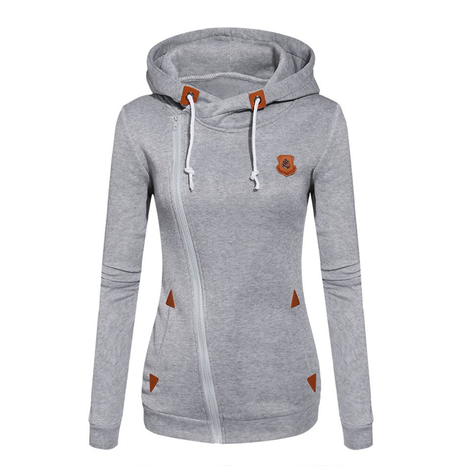 Doris Batchelor Nice Womens Fashion Fleeces Sweatshirts Ladies Hooded Candy Colors Solid Sweatshirt Long Sleeve Zip Up Clothing Light Gray S at Amazon ...