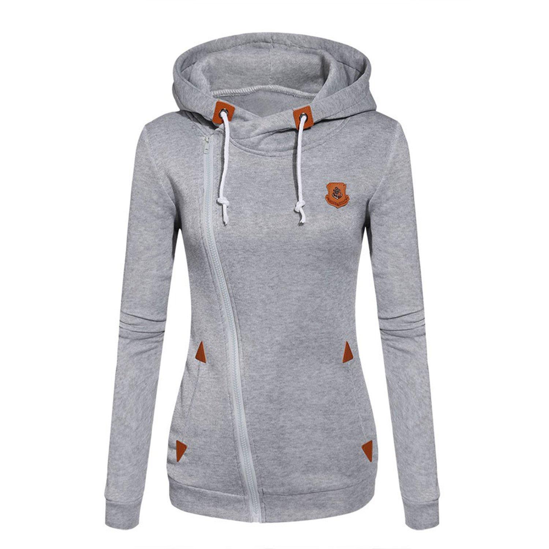 Doris Batchelor Nice Womens Fashion Fleeces Sweatshirts Ladies Hooded Candy Colors Solid Sweatshirt Long Sleeve Zip Up Clothing Light Gray S at Amazon ...