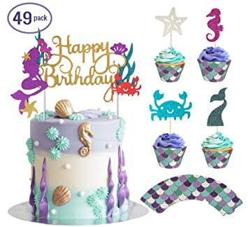 Bestus Mermaid Cake Topper Cupcake Toppers Wrappers 49pcs Kit