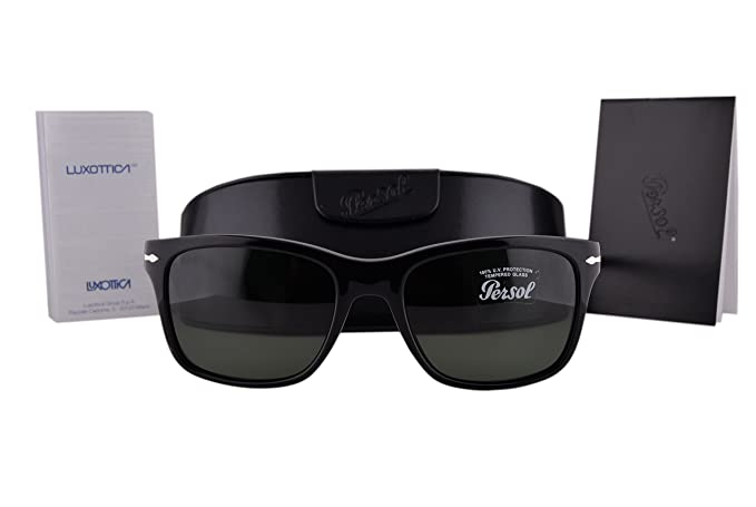 f4feea837ab Image Unavailable. Image not available for. Colour  Persol PO3135S Sunglasses  Black w Green Lens 9531 PO 3135-S For Men