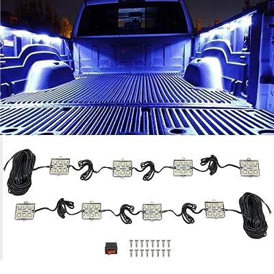 NBWDY 8 PCs Led 12V Truck Bed Light Kit,48 LEDs Cargo Truck Pickup Bed, Off Road Under Car, Foot Wells, Rail Lights Lighting Kit includes Power Switch (Blue): Automotive