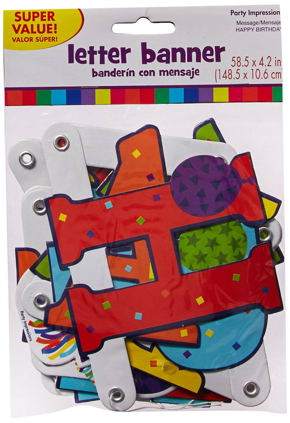 Birthday Illustrated Letter Banner 18 Ct 120075 Horns /& Balloons Collection TradeMart Inc