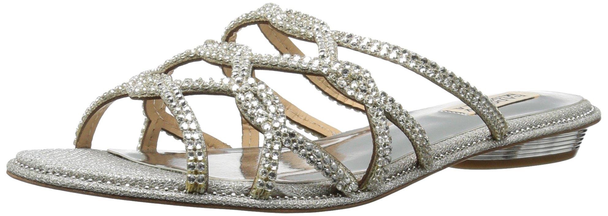 Badgley Mischka Women's Sofie Flat Sandal, Silver, 9 M US