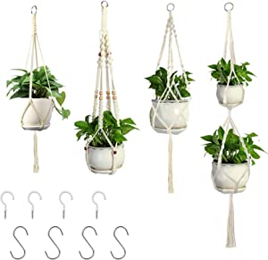 4 Pack Plant Hangers Rope Plant Hanger Hanging Plant Holder for Indoor Outdoor Decor Macrame Hanging Planters with Ceiling Hooks