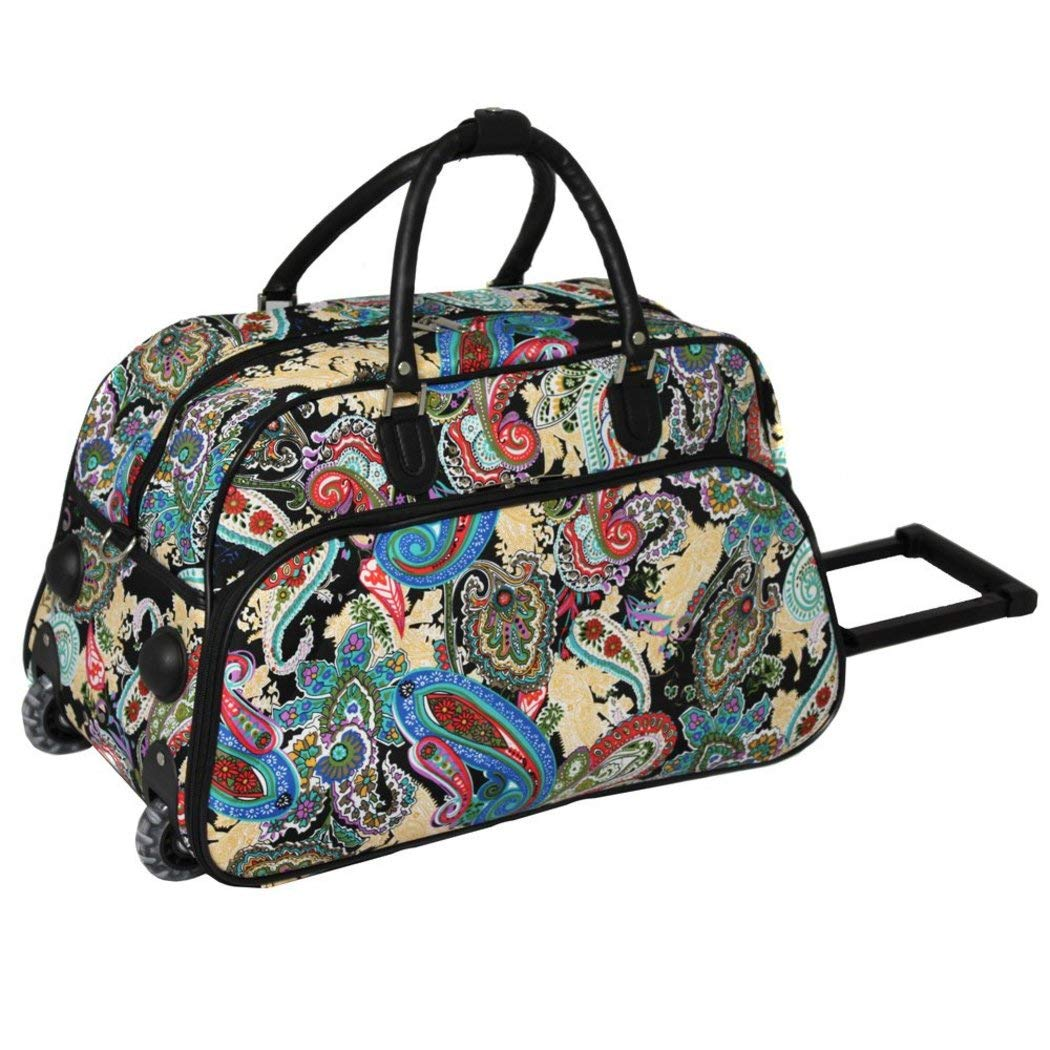 White Red Blue Teal 1 Piece Multi Color Paisley Rolling Carry On Duffle Bag