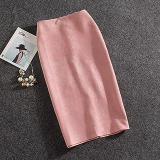 HEHEAB Falda Dividida Falda Dividida Moda Mujer Faldas Plus Tamaño De Verano Femenina Falda Lápiz Knee-Length Suede Faldas Split