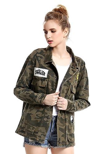 Escalier Mujer Camouflage Militar Vendimia Mezclilla chaquetas bolsillos Ejército chaqueta verde