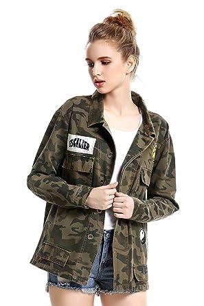Escalier Femmes Poches Motif Camouflage Militaire Vintage Vestes Manteaux  Denim Vert Armée - Vert - 36 3b78b6cf8b52