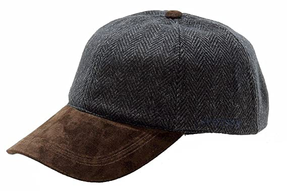 ed6f7b80828 Stetson Men s Wool Blend Cap with Suede Peak Charcoal One Size at ...