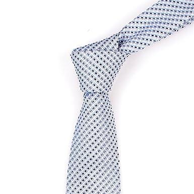 HXCMAN 7cm plateado gris azul cuadros corbata diseño clásico 100 ...