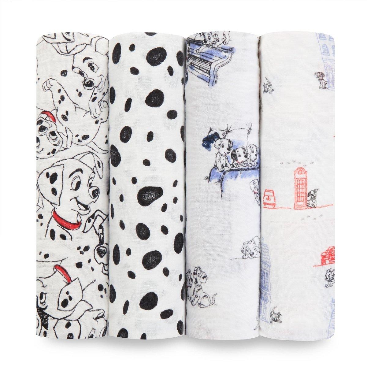 aden + anais Disney Baby swaddle, 100% cotton muslin, 120cm X 120cm, 4 pack, Bambi Aden and Anais DISN102G