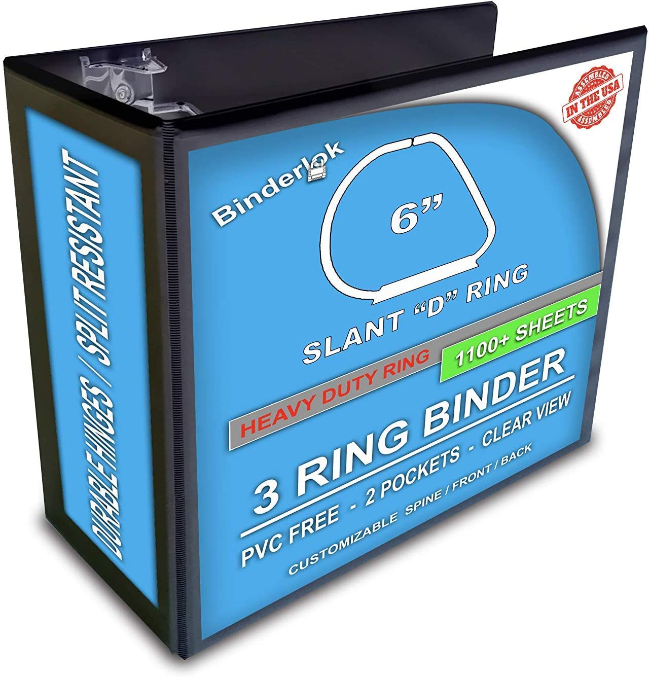 Ring Binder Depot 3リングビューバインダー 6インチ 傾斜Dリング ブラック 4個パック
