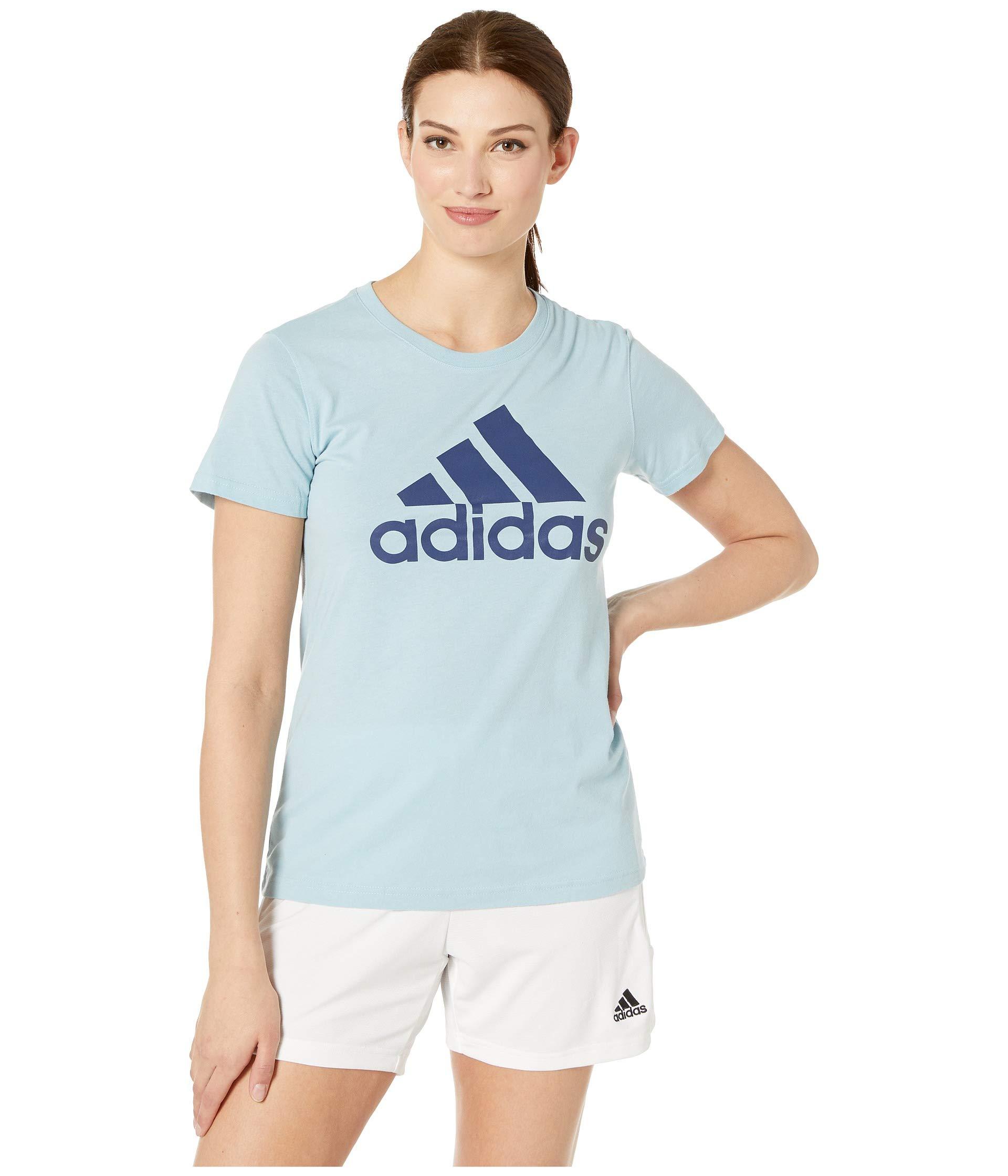 adidas Women's Badge of Sport Classic Tee Ash Grey/Noble Indigo Small by adidas