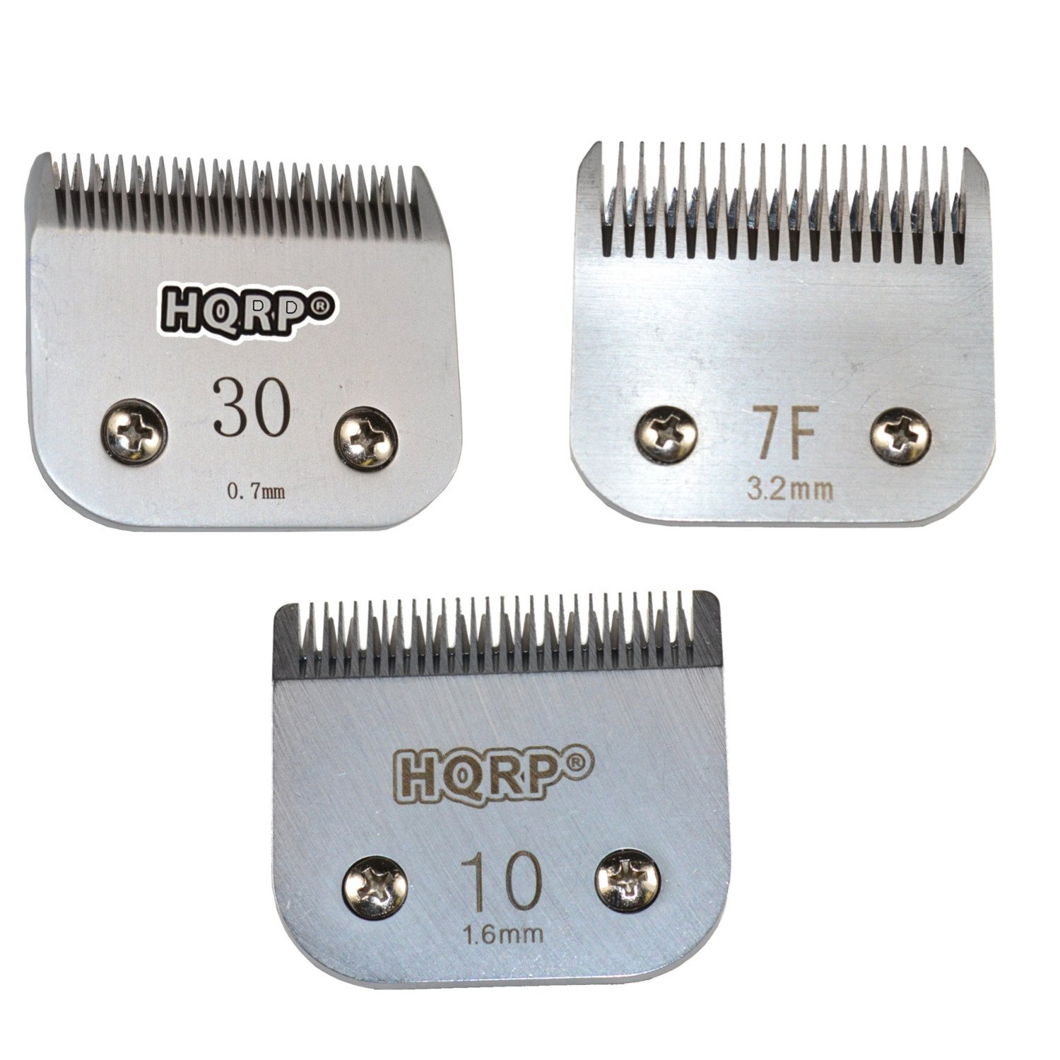 HQRP 3pcs Clipper Blades Set, Sizes 7F /10/30 for Poodle Hair Cutting Sporting Miami Terrier Style, Dog Grooming Clipping Trimming Coaster