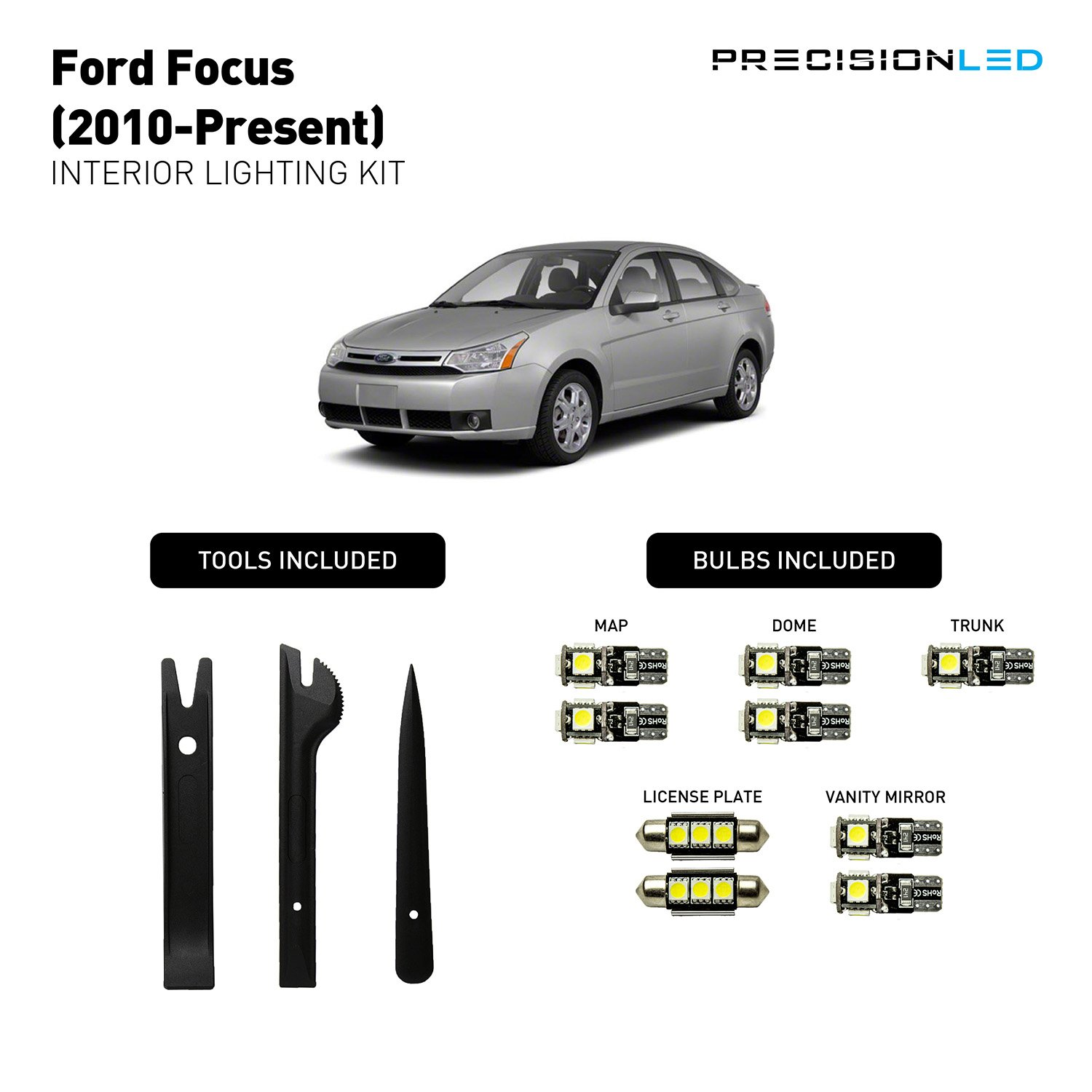 Amazon.com: 9 Pcs Premium Quality Precision LED 2010 - 2016 Ford Focus LED  Interior Lighting Kit with Install Tools (8000K): Automotive