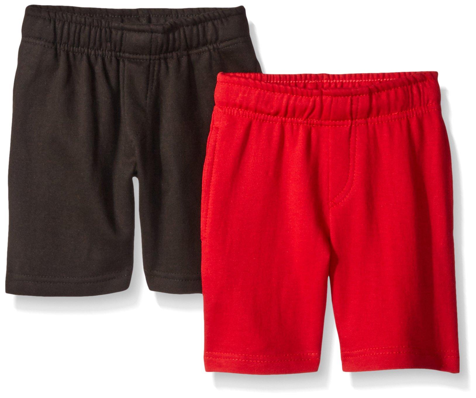 American Hawk Little Boys' Toddler 2 Piece Pack Fleece Shorts, Black/Red, 4T/4