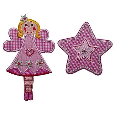 Fee 11x7cm Pink Stern flicken Aufnäher Stoff Patch Dekoration zum Aufbügeln auf Türschild Kissen Hemd Jeans Rock Hosen Kleider Kappe Hut Jacke Schal