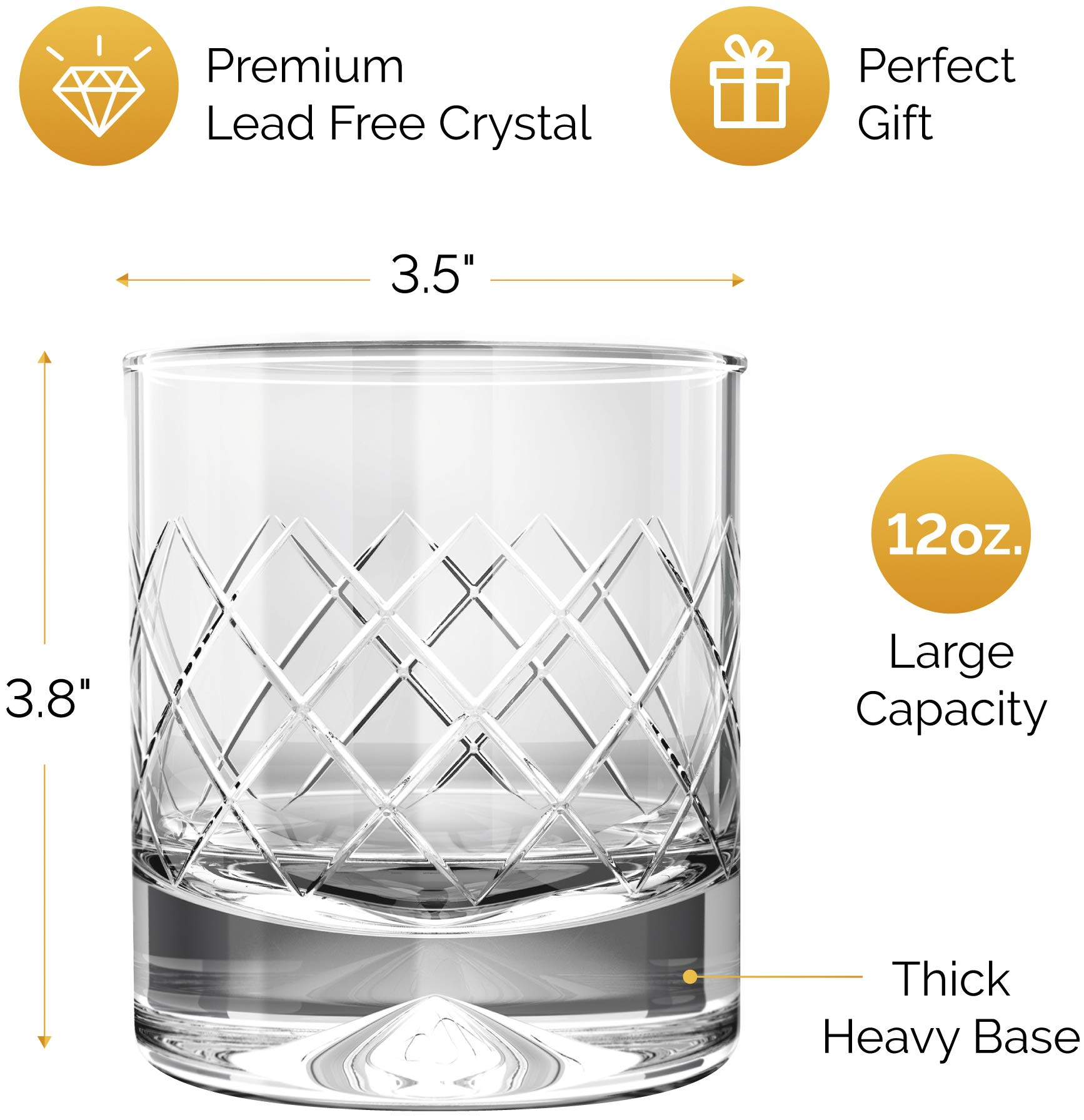 MOFADO Crystal Whiskey Glasses – DiamondEtch – 12oz (Set of 2) – Hand Blown Crystal – Thick Weighted Bottom Rocks…