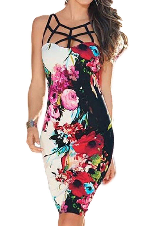 Yacun Women's Summer Cocktail Dress Sleeveless Floral Pencil Dresses CAMltZC1999