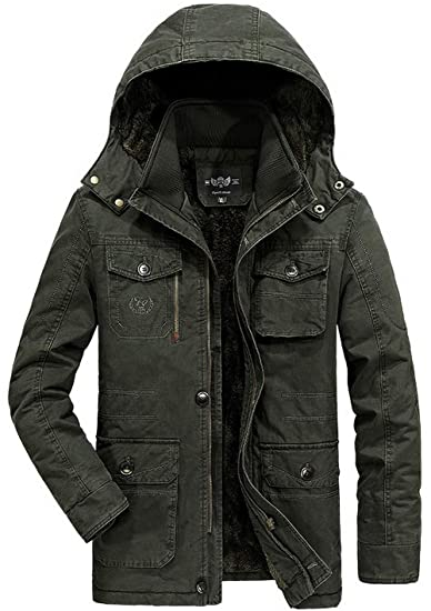 b11a3cc3dc5 FGYYG Men s Winter Fashion Warm Thicken Hooded Detachable Military Jacket  Outdoor Casual Multi Pocket Lined Fleece