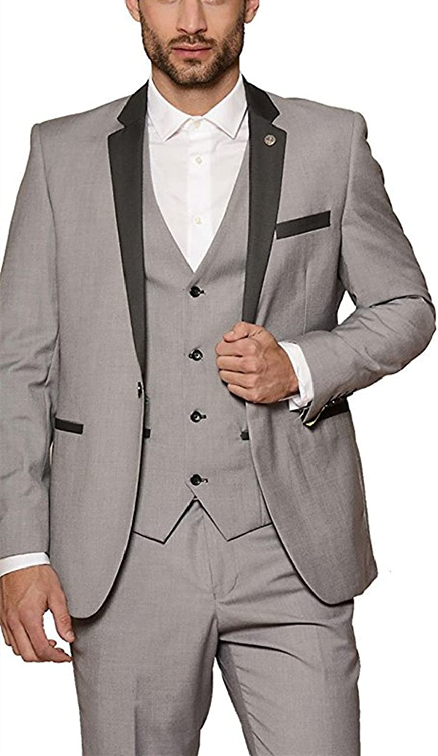 Suxiaoxi Mens Gentle Shawl Lapel One Button Tuxedo Groom Suits 3 Pieces