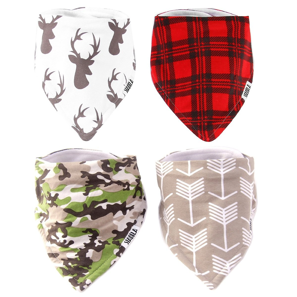 Stadela Baby Adjustable Bandana Drool Bibs for Drooling and Teething Nursery Burp Cloths 4 Pack Baby Shower Gift Set for Boys - Hunting Adventure with Deer Antler Arrows Plaid Woodland Forest Animal