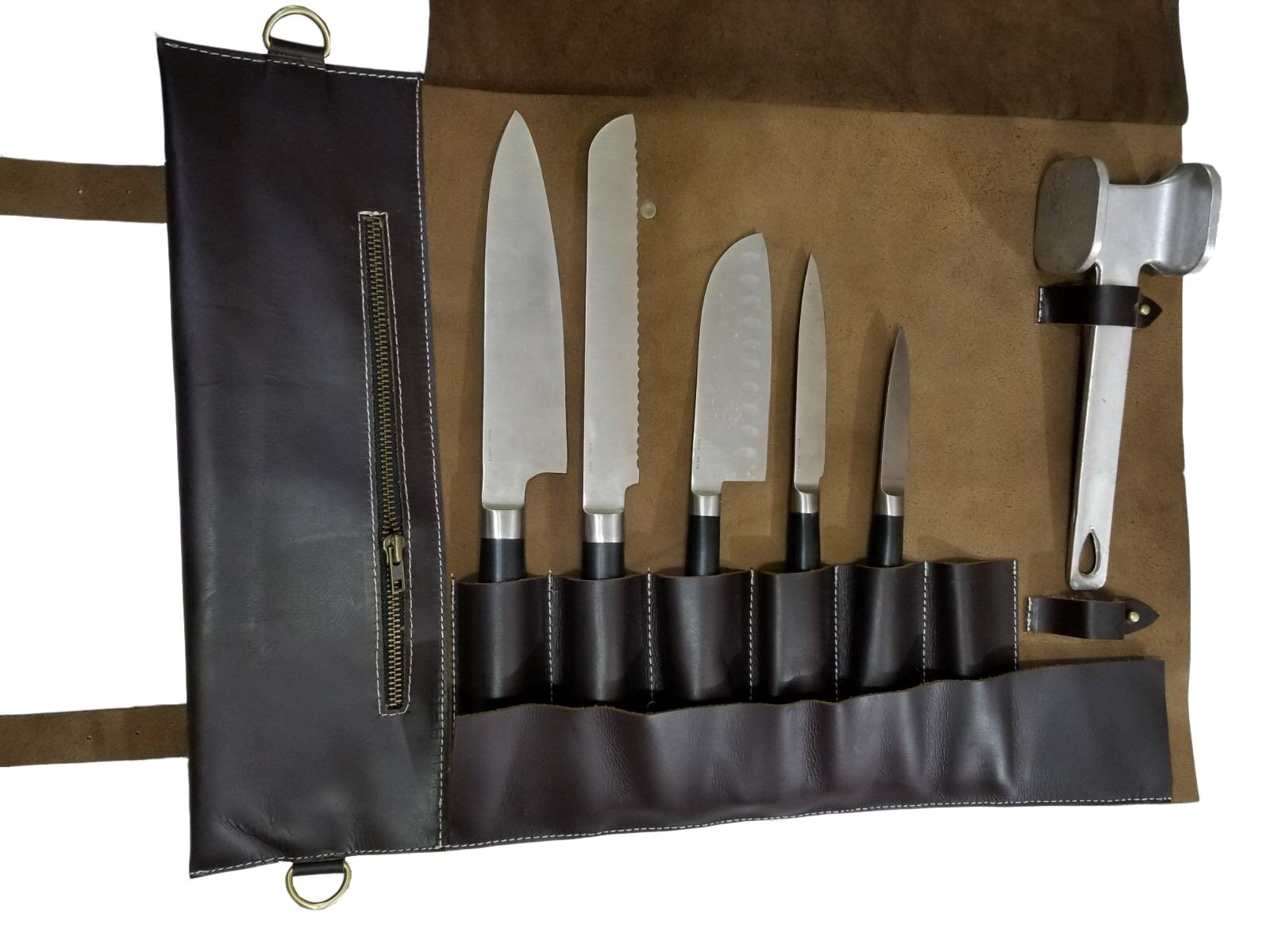 Professional Chef Bag Lightweight Genuine Premium Dark Brown Leather 7 Pockets Knife Bag/Chef Knife Roll #K08
