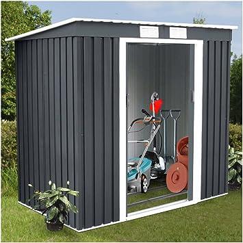 Casa de herramientas de almacenamiento para jardín de 4 x 7 pies, puerta corredera de metal gris oscuro: Amazon.es: Bricolaje y herramientas