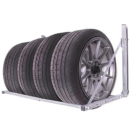 Coche Garaje Taller plegable soporte de pared para neumático rueda de almacenamiento para colgar de loft