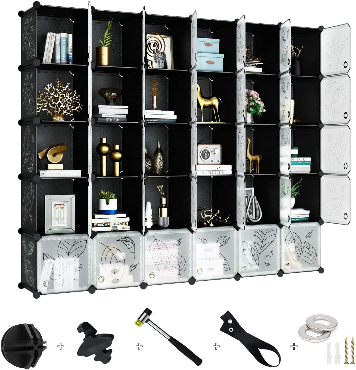 Greenstell 30 Cubes Storage Organizer with Doors,DIY Plastic Stackable Shelves Multifunctional Modular Bookcase Closet Cabinet for Books,Clothes,Toys,Artworks,Decorations (Black and White)