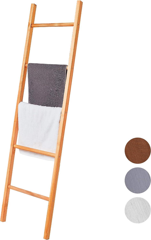 BALIBETOV Escalera Decorativa de Madera Pino Premium - Escalera Ideal para Colgar Toallas o Mantas - Organizadora para Baño, Living u Oficina. Moderna Chic (Gris, 150 cm): Amazon.es: Hogar