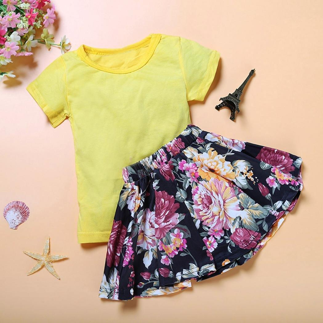 💜 Conjunto Niña Falda, Camiseta de la Manga Corta del Vestido de la Muchacha de los Cabritos Florales del bebé Embroma + los Conjuntos de la Falda fijaron ...