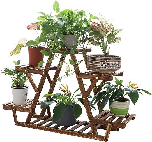 unho Soporte de Madera para Flores Estantería para Macetas Plantas con 6 Estantes para Jardín Exterior Interior Balcón Terraza Esquina 71 x 25.4 x 58cm: Amazon.es: Jardín