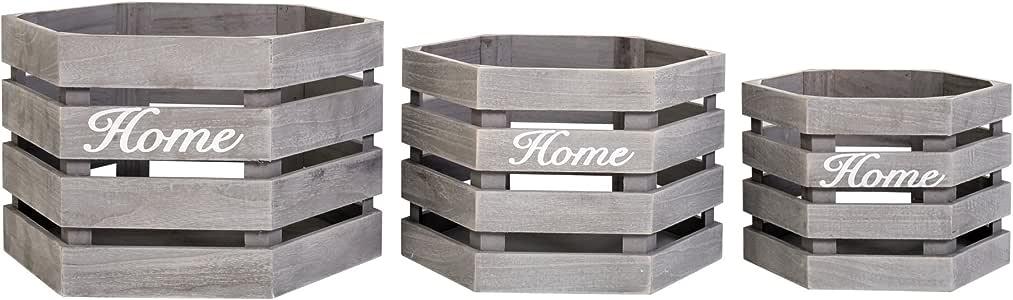 Rebecca SRL Set 3 Cajas Cestas Hexagonal Madera Gris Mesa de Campo Vintage Hogar Jardin (Cod.RE4606): Amazon.es: Hogar