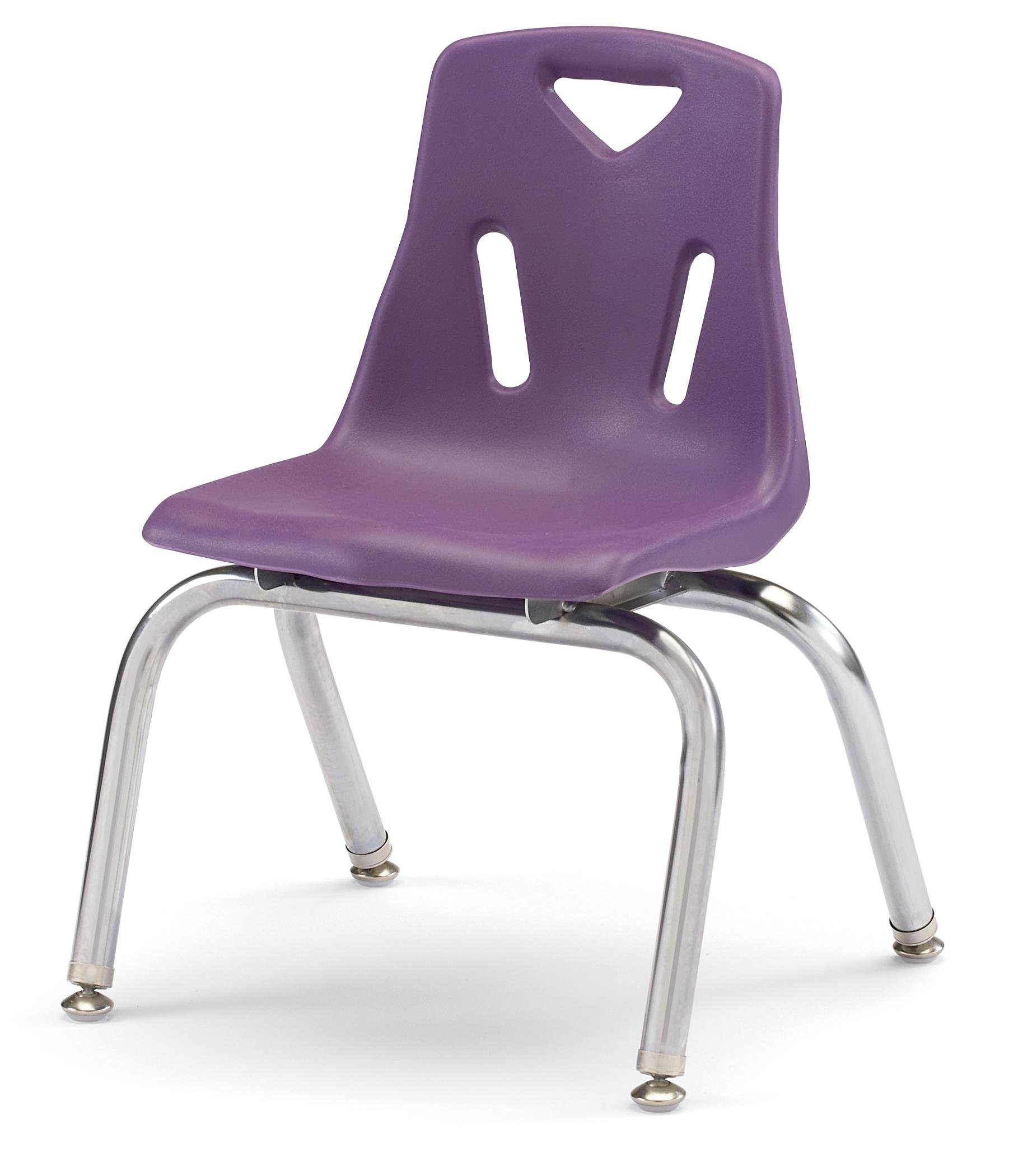 Berries 8148JC6004 Stacking Chairs with Chrome-Plated Legs, 18'' Ht, 19.5'' Height, 31.5'' Wide, 23.5'' Length, Purple (Pack of 6)