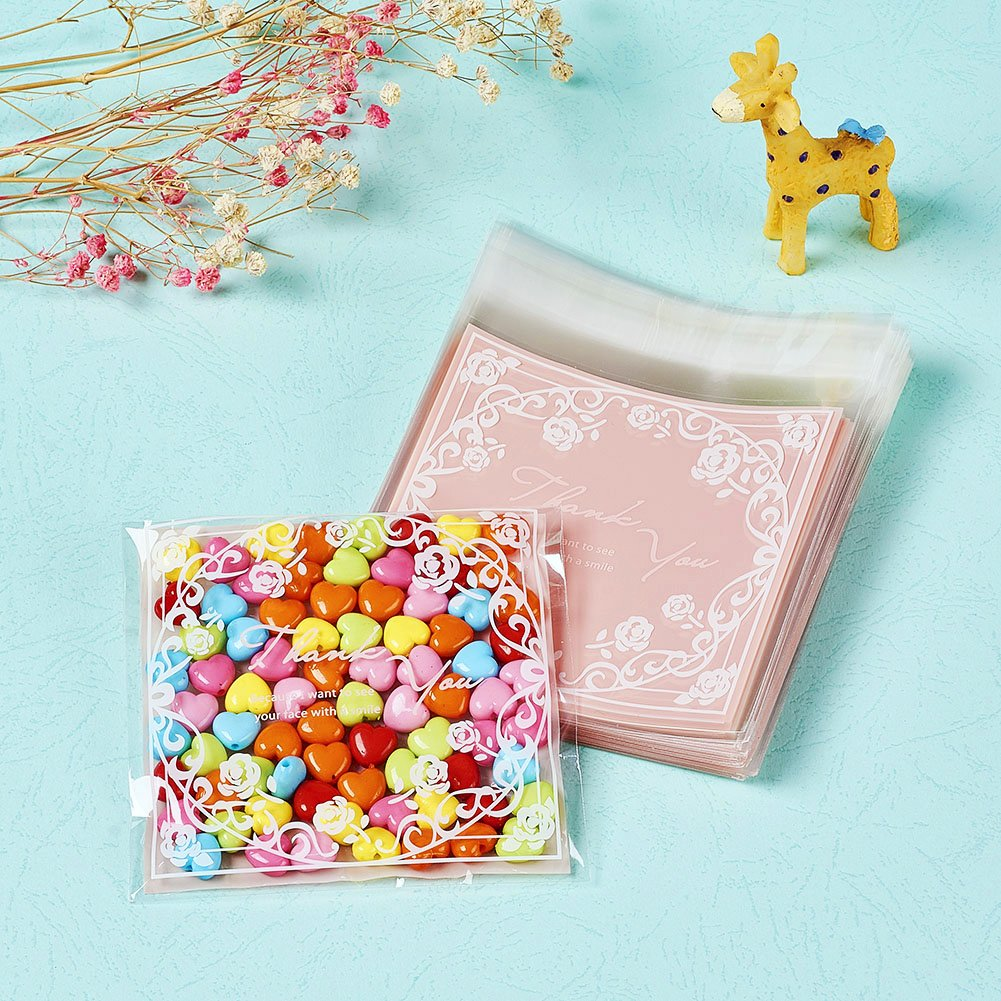 Colorful Kissitty 95-Piece 6.38x3.9 Inch 16.2x9.9cm OPP Cellophane Thank You Bags with Adhesive Sealing Closure Jewelry Wrapping Pouches for Gift Treat Candy Bakery