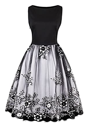 b010ea77090 Womens Boatneck Slim Black Bodice Black Organza Birthday Party Dress Black