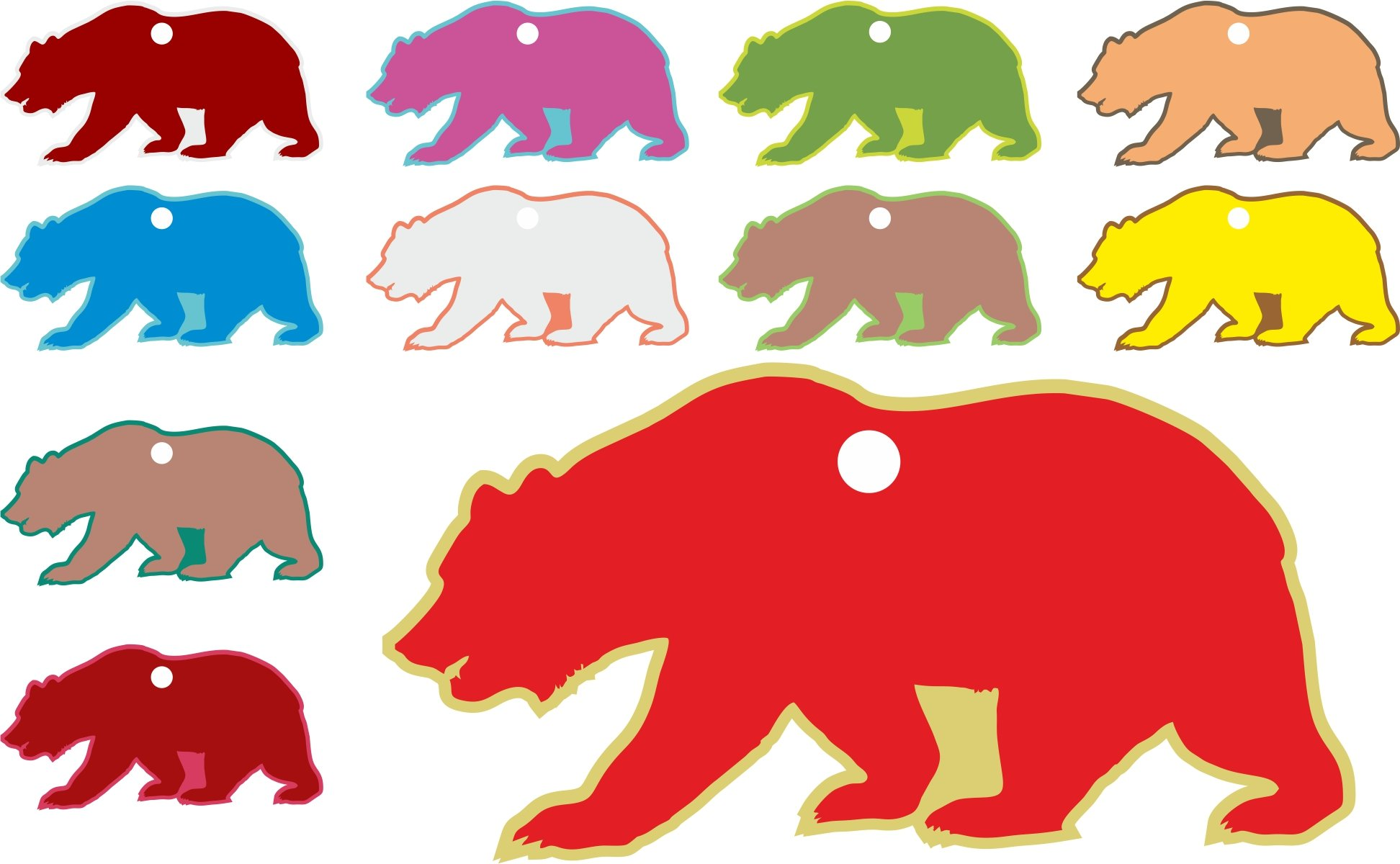 Kid's Digitally Printed Bear Hang Tag Assorted Paper Craft Supply Birthday Tag