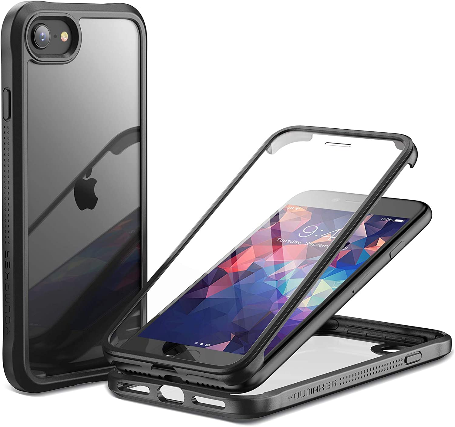 YOUMAKER Janus Designed for iPhone SE 2020 Case/iPhone 8 Case/iPhone 7 Case with Built-in Tempered Glass Screen Protector & Anti-Scratch Clear Back Full Body Slim Fit Protective Case 4.7 Inch-Black