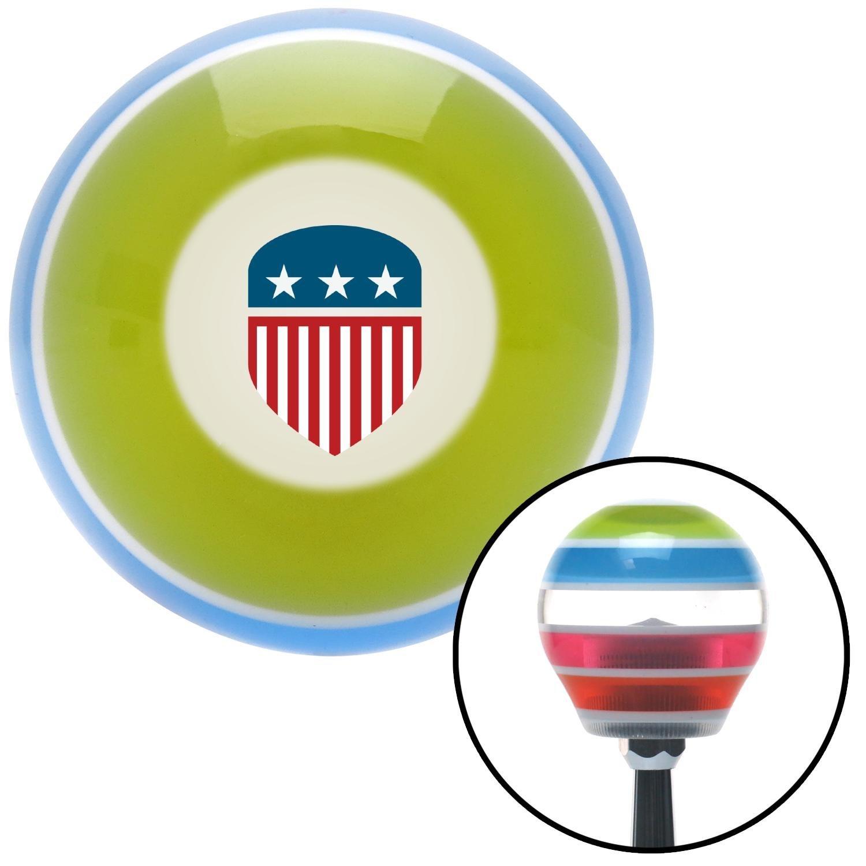 American Shifter 273532 USA Flag Shield Stripe Shift Knob with M16 x 1.5 Insert