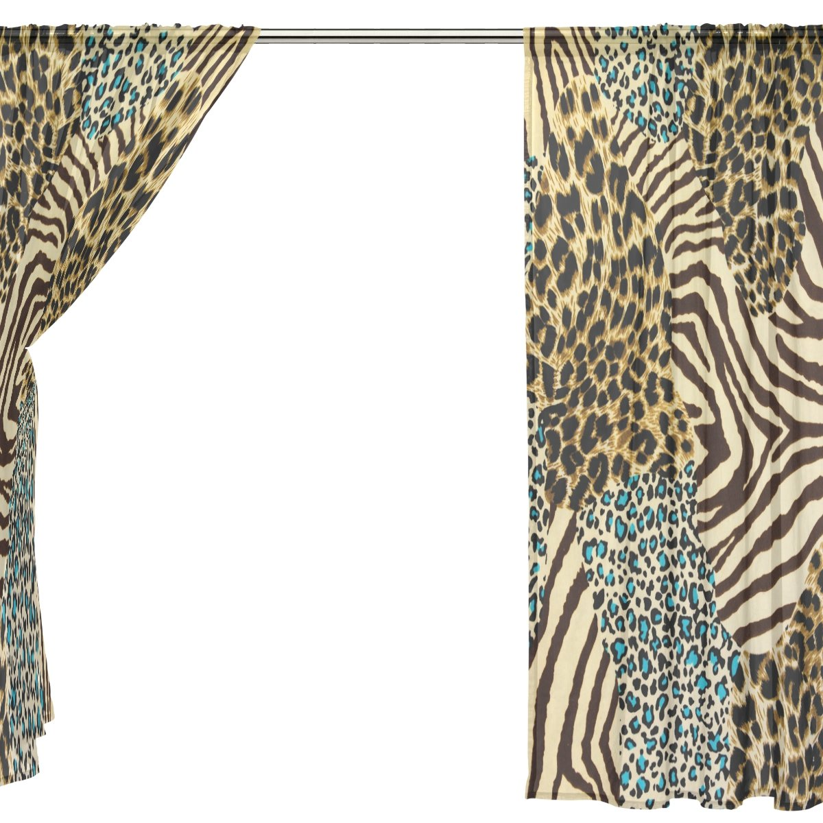 SEULIFE Window Sheer Curtain Zebra Tiger Animal Print Voile Curtain Drapes for Door Kitchen Living Room Bedroom 55x78 inches 2 Panels by SEULIFE (Image #4)