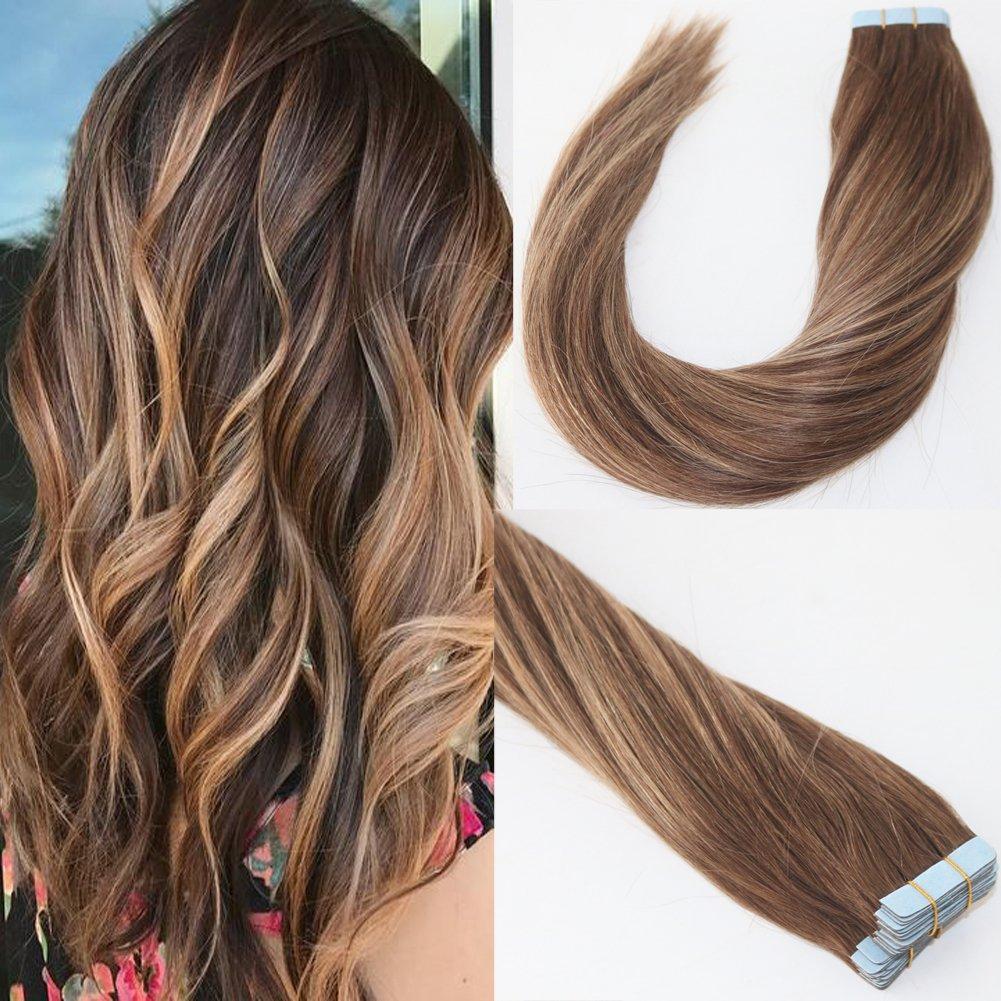 Lot de 2050gram Brun Au Blond ombré Cheveux humains Couleur Medium Marron avec Caramel Blond méché balayage ruban adhésif en Extensions de cheveux humains Remy Hair