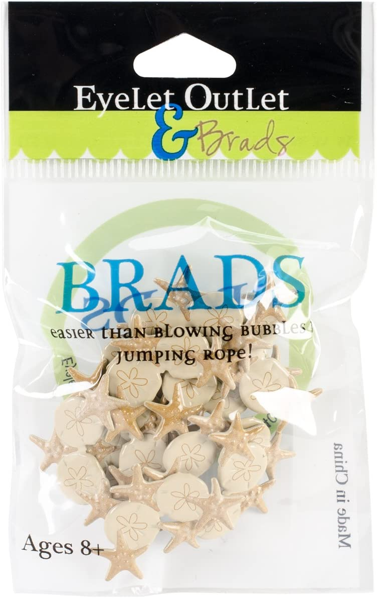 12 Pack EYELET OUTLET QBRD2-249 Corner Shell Shape Brads