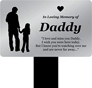 OriginDesigned in Loving Memory of Daddy - Engraved Memorial Stake with Poem and Daddy & Daughter Illustration (Gold/Silver/Copper or Black & White Plaque) (Silver)