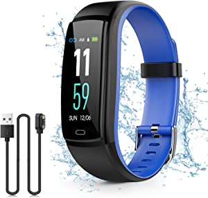 Kirlor Fitness Tracker, Colorful Screen Smart Bracelet with Heart Rate Blood Pressure Monitor,Smart Watch Pedometer Activity Tracker Bluetooth for Android & iOS