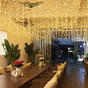 GYDING LED Icicle String Lights, Christmas Icicle Lights 16.4Ft 216 LEDs Window Curtain Starry Fairy Lights Plug in 8 Modes for Wedding Party Bedroom Garden Patio Outdoor Indoor (Warm White, 5)
